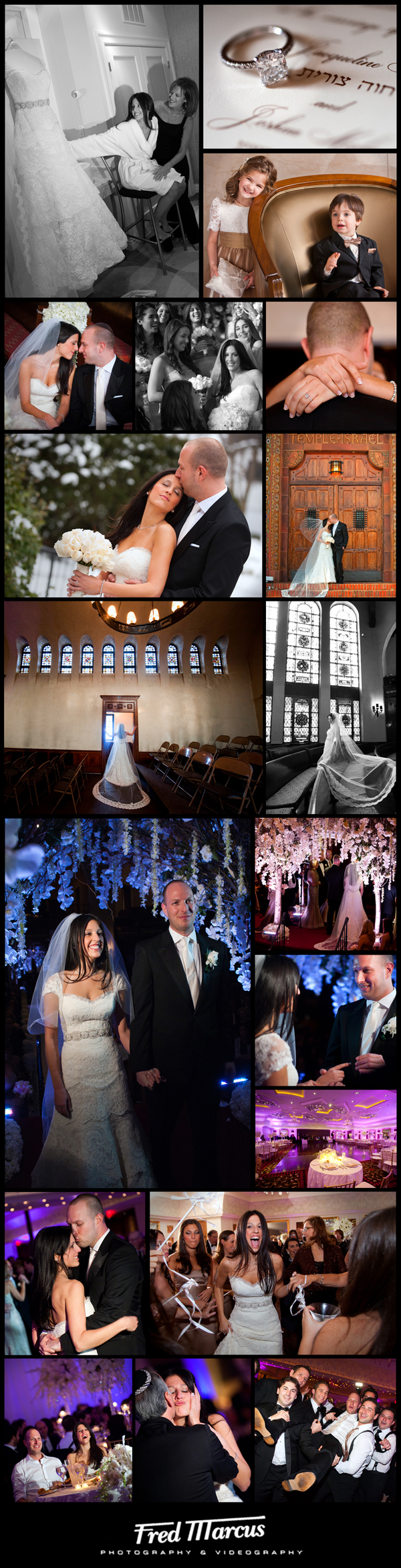 Wedding Photography at Temple Israel of Lawrence – Jackie and Josh